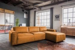 KAWOLA Ecksofa EXTRA Sofa Leder cognac Recamiere rechts klein mit motorischer Sitztiefenverstellung