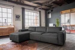 KAWOLA Ecksofa EXTRA Sofa Leder grau Recamiere links groß mit manueller Sitztiefenverstellung
