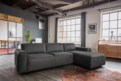 KAWOLA Ecksofa EXTRA Sofa Leder grau Recamiere rechts klein mit motorischer Sitztiefenverstellung
