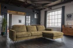 KAWOLA Ecksofa ELINA Sofa Recamiere rechts Velvet moosgrün (B/T):282x176cm