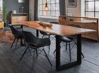 KAWOLA Essgruppe 5-Teilig mit Esstisch Baumkante Fuß schwarz 160x85cm und 4x Stuhl ZAJA Kunstleder schwarz