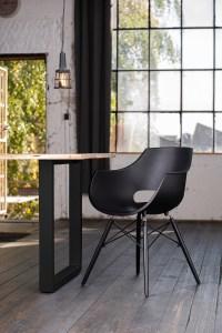 KAWOLA Essgruppe 5-Teilig mit Esstisch Baumkante Fuß schwarz 160x85cm und 4x Stuhl ZAJA Kunststoff schwarz