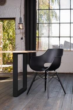 KAWOLA Essgruppe 5-Teilig mit Esstisch Baumkante nussbaumfarben Fuß schwarz 160x85cm und 4x Stuhl ZAJA Kunststoff weiß