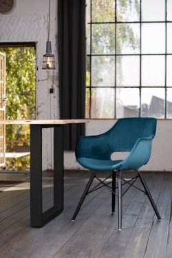 KAWOLA Essgruppe 9-Teilig mit Esstisch Baumkante nussbaumfarben Fuß schwarz 200x100cm und 8x Stuhl ZAJA Velvet petrol