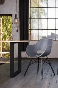KAWOLA Essgruppe 5-Teilig mit Esstisch Baumkante Fuß schwarz 140x85cm und 4x Stuhl ZAJA Kunststoff anthrazit