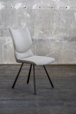 KAWOLA Esszimmerstuhl DINA Stuhl Kunstleder grau Füße schwarz