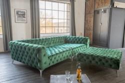 KAWOLA Set Big Sofa und Polsterhocker NARLA Velvet grün
