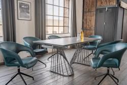 KAWOLA Essgruppe 7-Teilig Tisch ELOISE dunkelgrau mit 6x Stuhl SWIRL Kunstleder blau