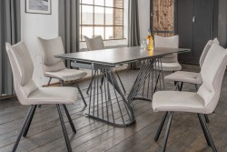 KAWOLA Essgruppe 5-Teilig Tisch ELOISE dunkelgrau mit 4x Stuhl DINA Kunstleder/Stoff grau