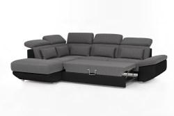 KAWOLA Ecksofa MOMO Sofa mit Schlaffunktion Recamiere links Bezug schwarz/grau