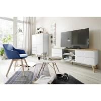 Tenzo Lowboard DOT TV-Bank mit vier Schubladen weiß/Eiche