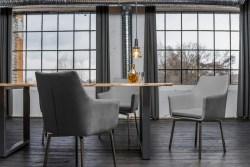 KAWOLA Essgruppe 5-teilig mit Esstisch Baumkante nussbaumfarben Fuß silber 180x90 und 4x Stuhl Cali Stoff grau