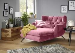 KAWOLA Longchair CHARME Stoff Velvet rosa