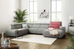 KAWOLA Sofa RISO Wohnlandschaft U-Form Stoff Longchair rechts grau