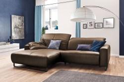 KAWOLA Sofa YORK Leder Life-line nougat Rec links Fuß Metall schwarz mit Sitztiefenverstellung