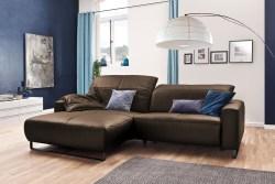 KAWOLA Sofa YORK Leder Life-line hasel Rec links Fuß Metall schwarz mit Sitztiefenverstellung