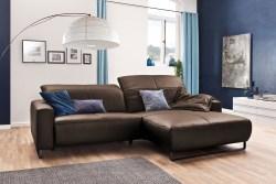 KAWOLA Sofa YORK Leder Life-line praline Rec rechts Fuß Metall schwarz mit Sitztiefenverstellung