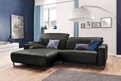 KAWOLA Sofa YORK Leder Life-line fango Recamiere rechts Fuß Metall schwarz