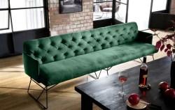 KAWOLA Esszimmerbank CHARME 186cm Stoff Velvet smaragd