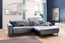 KAWOLA Sofa YORK Leder Life-line light-grey Rec rechts Fuß Metall schwarz mit Sitztiefenverstellung