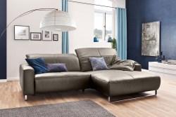 KAWOLA Sofa YORK Leder Life-line bisquit Rec rechts Fuß Metall Chrom matt mit Sitztiefenverstellung