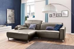 KAWOLA Sofa YORK Leder Life-line bisquit Rec links Fuß Metall Chrom matt mit Sitztiefenverstellung