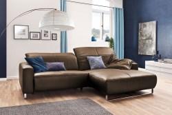 KAWOLA Sofa YORK Leder Life-line nougat Rec rechts Fuß Metall Chrom matt mit Sitztiefenverstellung