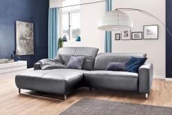 KAWOLA Sofa YORK Leder Life-line light-grey Rec links Fuß Metall Chrom matt mit Sitztiefenverstellung