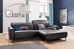 KAWOLA Sofa YORK Leder Life-line mocca Recamiere rechts Fuß Metall Chrom matt