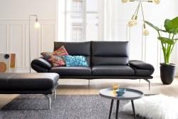 KAWOLA Ledersofa KIMI 2-Sitzer Sofa schwarz