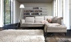 KAWOLA Sofa RYDA Ecksofa Stoff Recamiere rechts light grey