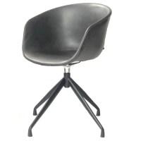 4x KAWOLA Stuhl DANI Esszimmerstuhl mit Drehfunktion Kunstleder grau