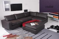 Ecksofa - Sofa Het Anker Leder Toledo violett Arlmlehne links Lionel