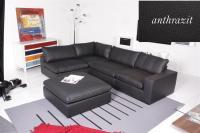 Ecksofa - Sofa Het Anker Leder Toledo anthrazit Armlehne rechts Lionel