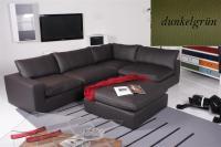 Ecksofa - Sofa Het Anker Leder Toledo dunkelgrün Armlehne links Lionel