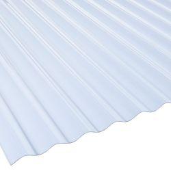 Lichtplatte 76/18 PVC Sinuswelle passend zum Wellblech Stärke 1,4 mm glasklar-grünlich Breite 1,12 m