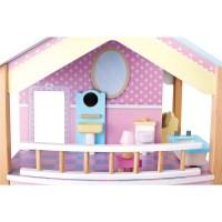 Puppenhaus Blaues Dach 2 Etagen, drehbar