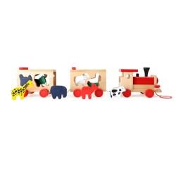 Steckspiel Holzeisenbahn mit Tieren