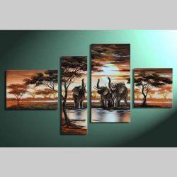 4 Leinwandbilder AFRIKA Elefant (3) 120 x 70cm Handgemalt