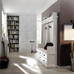 Mahagoni Garderobe mit Sitzbank JOSEPHINE Antikweiß 100 x 190cm