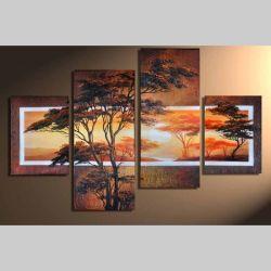 4 Leinwandbilder AFRIKA Baum (9) 120 x 80cm Handgemalt