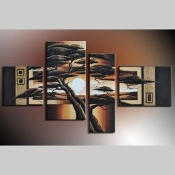 4 Leinwandbilder AFRIKA Baum (14) 120 x 70cm Handgemalt