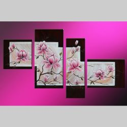 4 Leinwandbilder MAGNOLIA (6) 120 x 70cm Handgemalt