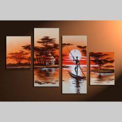 4 Leinwandbilder AFRIKA Mann (3) 120 x 80cm Handgemalt