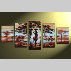 5 Leinwandbilder AFRIKA Frau (2) 150 x 70cm Handgemalt