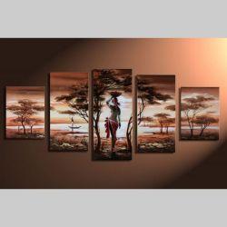 5 Leinwandbilder AFRIKA Frau (3) 150 x 70cm Handgemalt