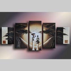 5 Leinwandbilder AFRIKA Frau (4) 150 x 70cm Handgemalt