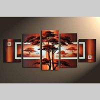 5 Leinwandbilder AFRIKA Baum (3) 150 x 70cm Handgemalt
