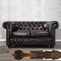 2er Sofa WINCHESTER Dunkelbraun im klassisch englischen Chesterfield-Stil