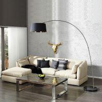 XXL Bogenlampe LUXOR Schwarz-Gold mit Marmorfuß Schwarz 215cm Höhe